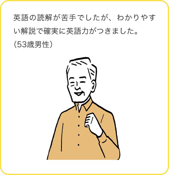 英語の読解が苦手でしたが、わかりやすい解説で確実に英語力がつきました。(53歳男性)
